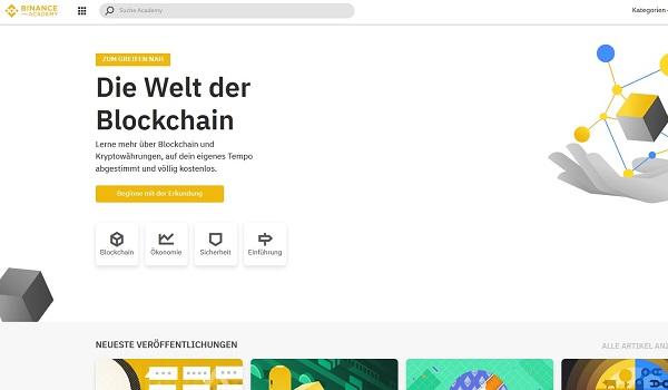 Binance Academy mit Infos über Kryptowährungen