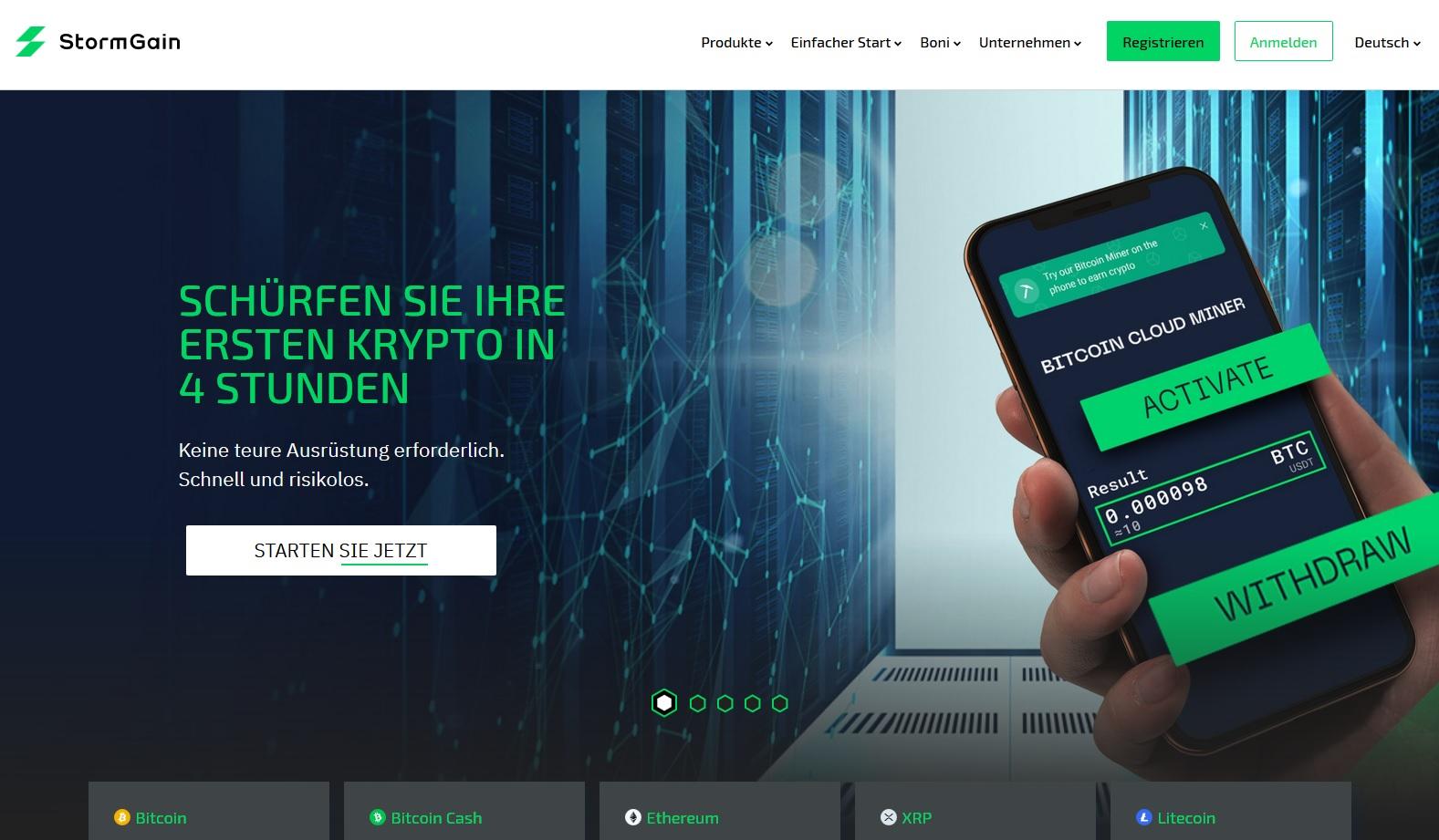 Bitcoin-Mining am Smartphone in der StormGain-App