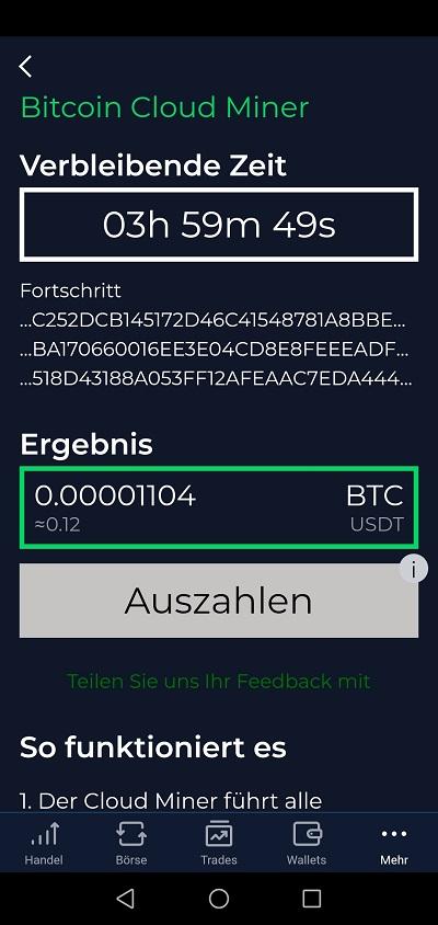 Bitcoin-Mining in der StormGain-App