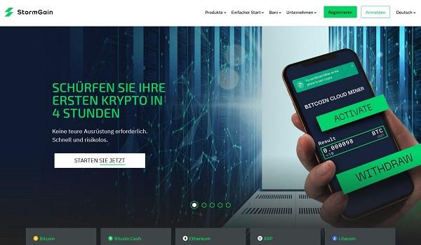 Informationen über Bitcoin-Mining in der StormGain-App