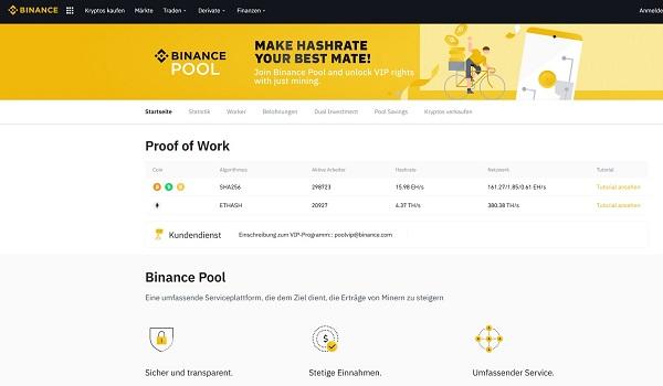 Bitcoin-Mining im Binance Mining-Pool