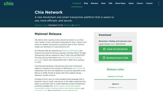 Webseite von Chia Network mit Chia Blockchain Download